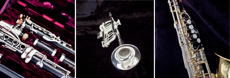 Music Store Band Instrument Trumpet Clarinet Saxophone